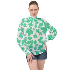 Botanical Motif Print Pattern High Neck Long Sleeve Chiffon Top