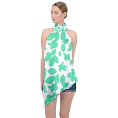 Botanical Motif Print Pattern Halter Asymmetric Satin Top