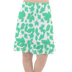 Botanical Motif Print Pattern Fishtail Chiffon Skirt