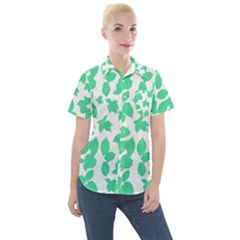 Botanical Motif Print Pattern Women s Short Sleeve Pocket Shirt