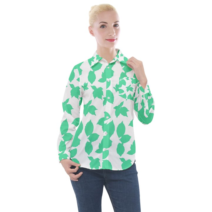 Botanical Motif Print Pattern Women s Long Sleeve Pocket Shirt