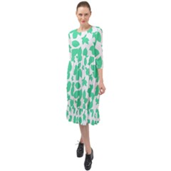 Botanical Motif Print Pattern Ruffle End Midi Chiffon Dress