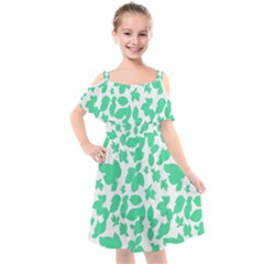 Botanical Motif Print Pattern Kids  Cut Out Shoulders Chiffon Dress