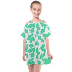 Botanical Motif Print Pattern Kids  One Piece Chiffon Dress