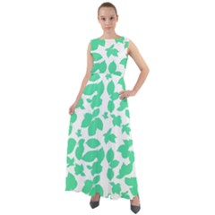 Botanical Motif Print Pattern Chiffon Mesh Maxi Dress