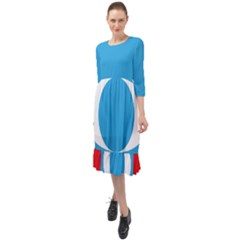 Flag Of Malaysia s People s Justice Party Ruffle End Midi Chiffon Dress