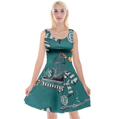 Slytherin Pattern Reversible Velvet Sleeveless Dress by Sobalvarro