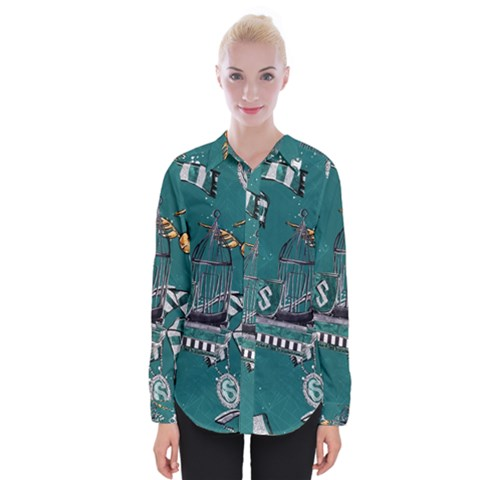 Slytherin Pattern Womens Long Sleeve Shirt by Sobalvarro