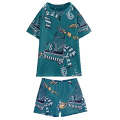 Slytherin Pattern Kids  Swim Tee And Shorts Set by Sobalvarro