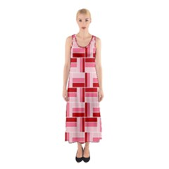 Burgundy Pattern Stripes Sleeveless Maxi Dress