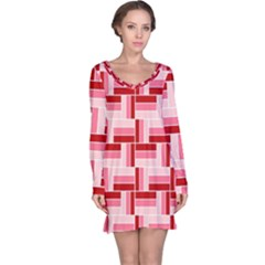 Burgundy Pattern Stripes Long Sleeve Nightdress