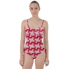 Burgundy Pattern Stripes Sweetheart Tankini Set by Alisyart