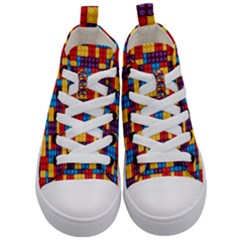 Lego Background Game Kids  Mid Top Canvas Sneakers