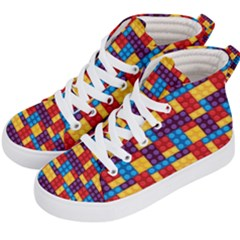 Lego Background Game Kids  Hi-top Skate Sneakers by Mariart