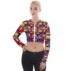 Lego Background Game Long Sleeve Cropped Velvet Jacket