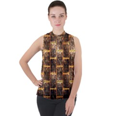 Wallpaper Iron Mock Neck Chiffon Sleeveless Top