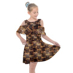 Wallpaper Iron Kids  Shoulder Cutout Chiffon Dress