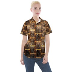 Wallpaper Iron Women s Short Sleeve Pocket Shirt
