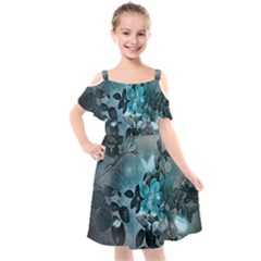 Elegant Floral Design With Butterflies Kids  Cut Out Shoulders Chiffon Dress by FantasyWorld7
