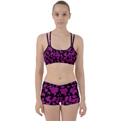 Dark Botanical Motif Print Pattern Perfect Fit Gym Set by dflcprintsclothing