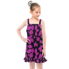Dark Botanical Motif Print Pattern Kids  Overall Dress