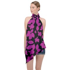 Dark Botanical Motif Print Pattern Halter Asymmetric Satin Top by dflcprintsclothing