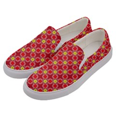 Red Yellow Pattern Design Men s Canvas Slip Ons by Alisyart