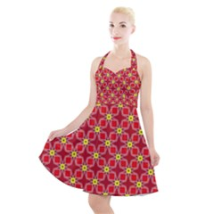 Red Yellow Pattern Design Halter Party Swing Dress