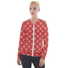 Red Yellow Pattern Design Velour Zip Up Jacket