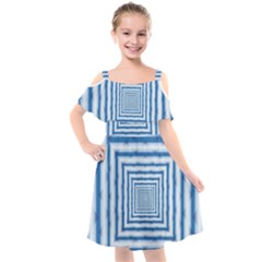 Metallic Blue Shiny Reflective Kids  Cut Out Shoulders Chiffon Dress