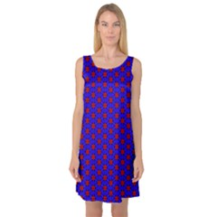 Blue Pattern Red Texture Sleeveless Satin Nightdress by Mariart