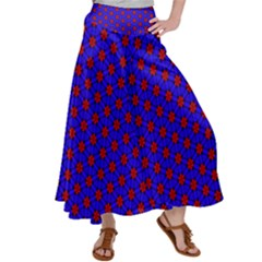 Blue Pattern Red Texture Satin Palazzo Pants by Mariart