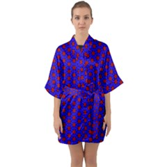 Blue Pattern Red Texture Quarter Sleeve Kimono Robe by Mariart