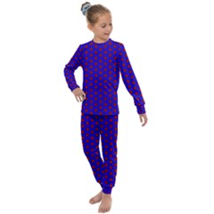 Blue Pattern Red Texture Kids  Long Sleeve Set