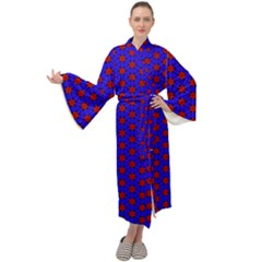 Blue Pattern Red Texture Maxi Tie Front Velour Kimono by Mariart