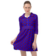Blue Pattern Red Texture Mini Skater Shirt Dress