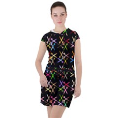 Scissors Pattern Colorful Prismatic Drawstring Hooded Dress