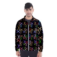 Scissors Pattern Colorful Prismatic Men s Windbreaker