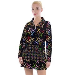 Scissors Pattern Colorful Prismatic Women s Long Sleeve Casual Dress