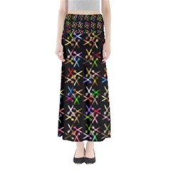 Scissors Pattern Colorful Prismatic Full Length Maxi Skirt
