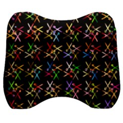 Scissors Pattern Colorful Prismatic Velour Head Support Cushion