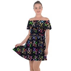 Scissors Pattern Colorful Prismatic Off Shoulder Velour Dress by HermanTelo