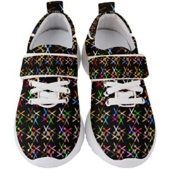 Scissors Pattern Colorful Prismatic Kids  Velcro Strap Shoes