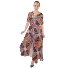 Decorated Colorful Bright Pattern Waist Tie Boho Maxi Dress