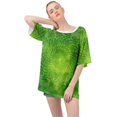 Pagan Mandala Seamless Tileable Green Oversized Chiffon Top