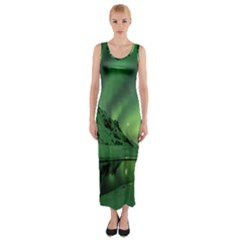Snow Winter White Cold Weather Green Aurora Fitted Maxi Dress