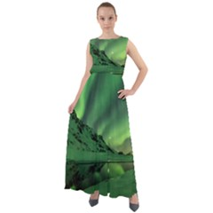 Snow Winter White Cold Weather Green Aurora Chiffon Mesh Maxi Dress