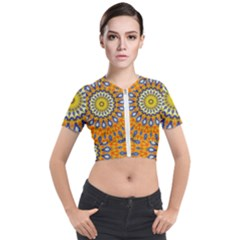 Fractal Kaleidoscope Mandala Short Sleeve Cropped Jacket by Pakrebo