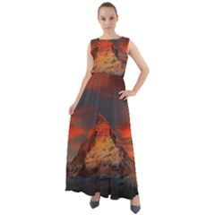 Switzerland Zermatt Mountains Snow Chiffon Mesh Maxi Dress
