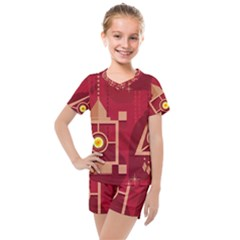 Background Objects Stylized Kids  Mesh Tee And Shorts Set